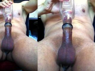 Cumming with the help of a bottle