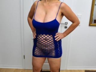 Busty Tina - Blue dress