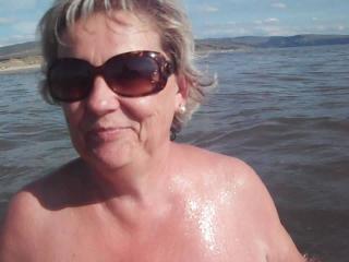 Denise swimming Morfa beach