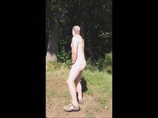 outdoor naked jerking having big cumshot