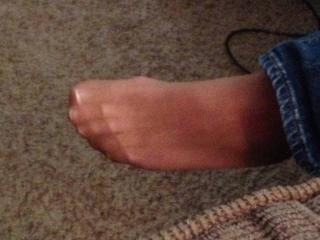My candid pantyhose feet in jeans