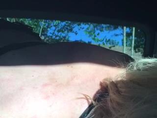 Wife being slut in back of car