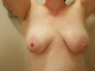 Arms up in the shower 2