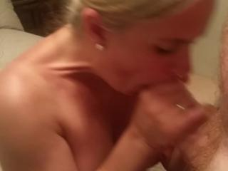 teasing hubby with a two handed wet blowjob