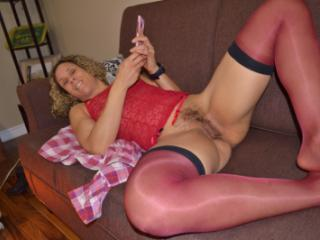 red bustier and stockings6