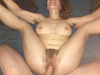 Fucking her bushy pussy
