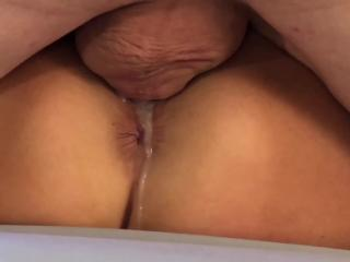 Wet pussy overflowing with cum
