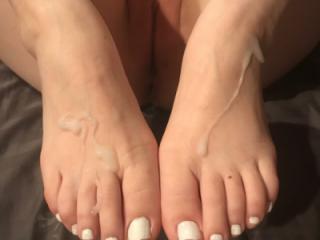 cum on Wifes friend feet