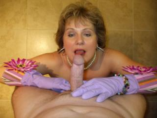 Hot Big Titted Wife In Kitchen with Rubber Gloves Gets Cummed!