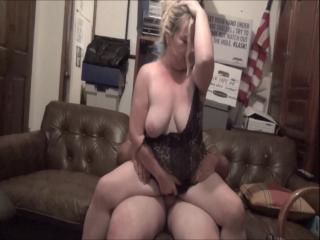 Slut Wife sucks and ride lover Reverse Cowgirl on the couch