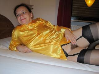 My new Satin Blouse with Black Garterbelt and Stockings 13 of 17